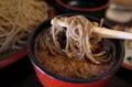 黒胡麻ダッタン蕎麦をとろろ鯖出汁で手繰る