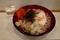 冷とろろそば(500円)+大盛(50円)+セルフ紅生姜&七味唐辛子