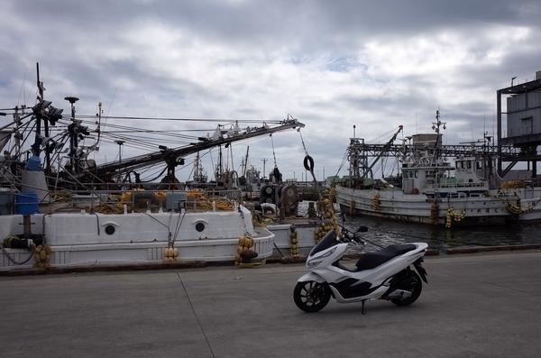 片貝漁港とPCX150