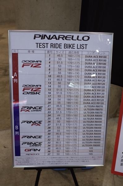 ピナレロの試乗車リスト