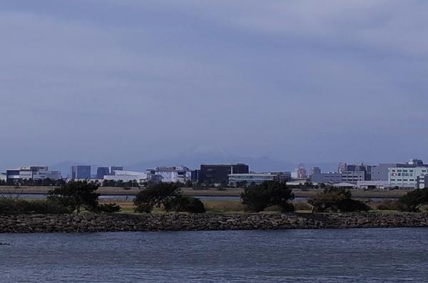 薄っすらと富士山が見える