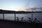 船橋港親水公園の夕陽とチャリ二台