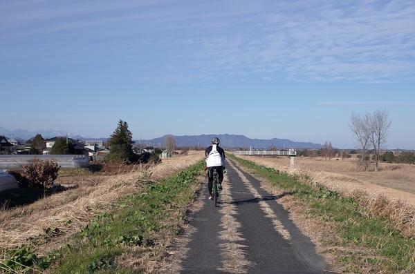渡良瀬遊水地沿いを北上する