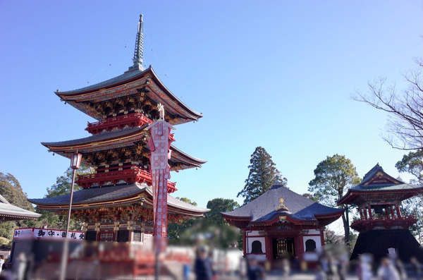 三重塔と一切経堂と鐘楼