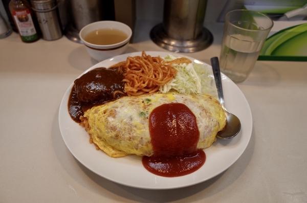 オムライス(800円)+大盛(150円)+ミニハンバーグ(250円)