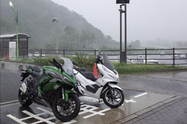雨に濡れるPCX150とNinja100