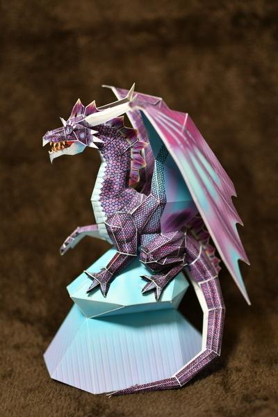 次男作ペーパークラフトのブルードラゴン6