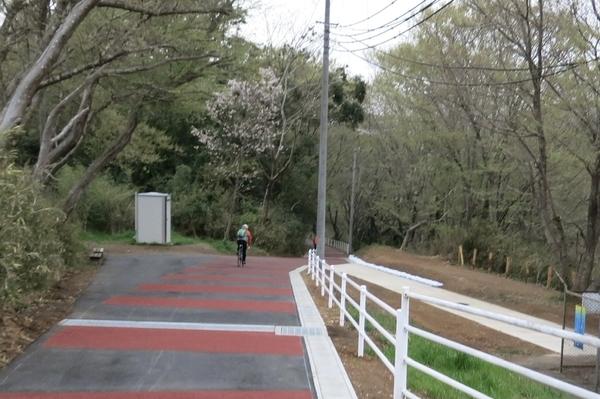 新しく舗装された花見川サイクリングコースで帰る