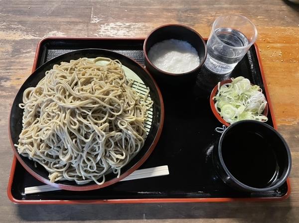 ダッタン蕎麦【大盛500g】(650円)+とろろ(100円)+鯖出汁変更(0円)