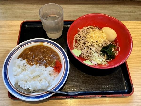 冷し味玉セットミニカレー付き【そば】(500円)