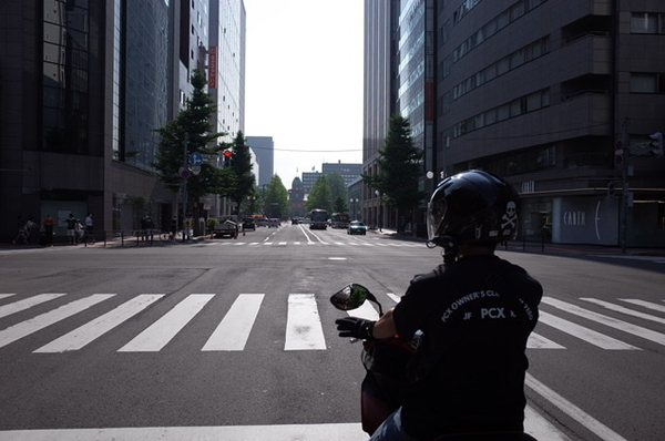 N少佐の先導で札幌を走る