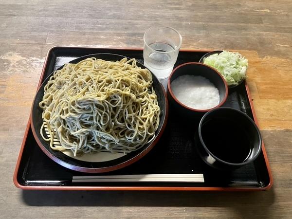 ダッタン蕎麦【大盛500g】(650円) +とろろ(100円)+鯖出汁変更(0円)