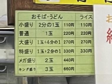 おそば・うどん/ライスの値段と量