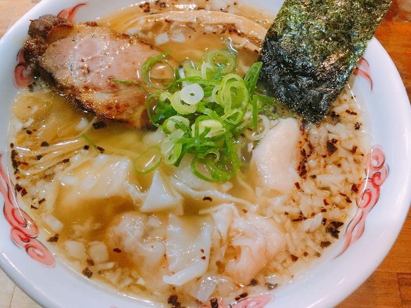 エビとホタテの揚げネギしおワンタン麺