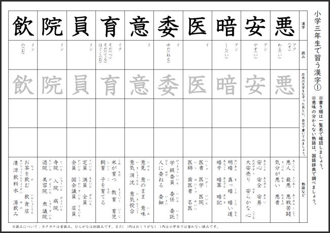 【無料】小学3年生で習う漢字プリント