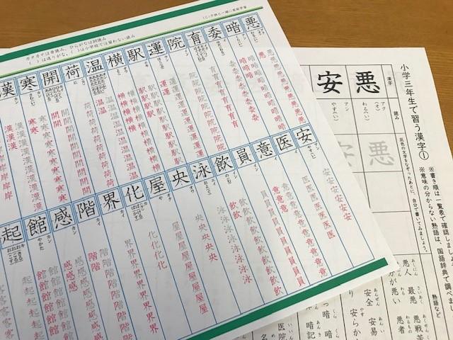 小学3年生で習う漢字プリント