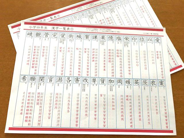 小学4年生で習う漢字の一覧