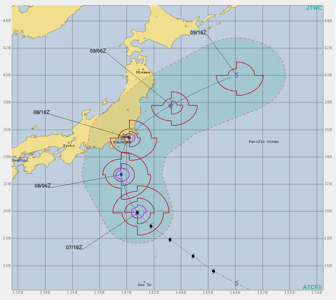 台風15号米軍進路予想
