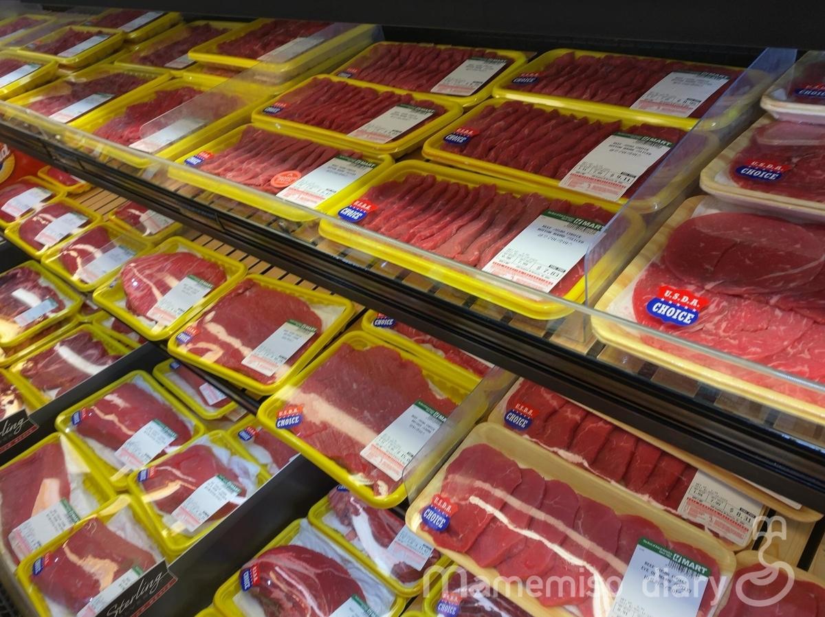 牛肉売り場の様子