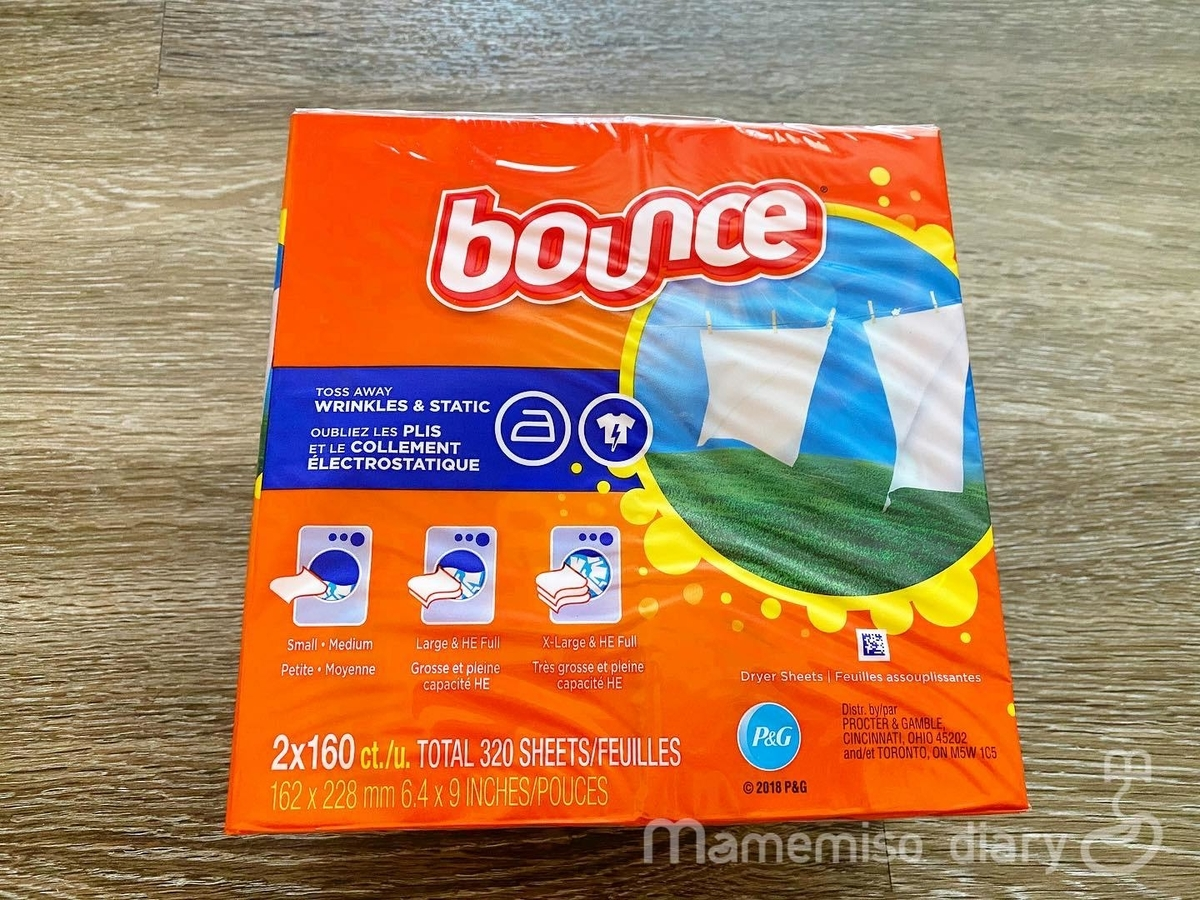 bounceの柔軟剤シートの箱