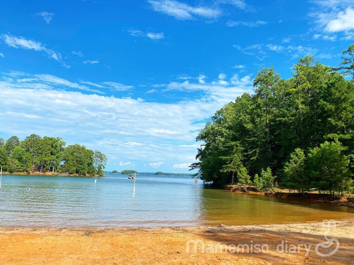 湖畔のビーチの写真