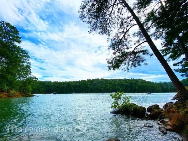 湖とボートの様子