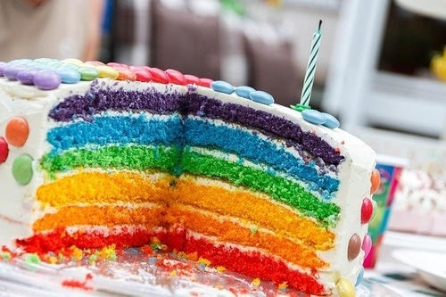 レインボーケーキの写真