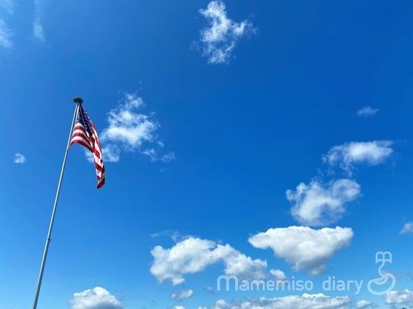 アメリカ国旗と空