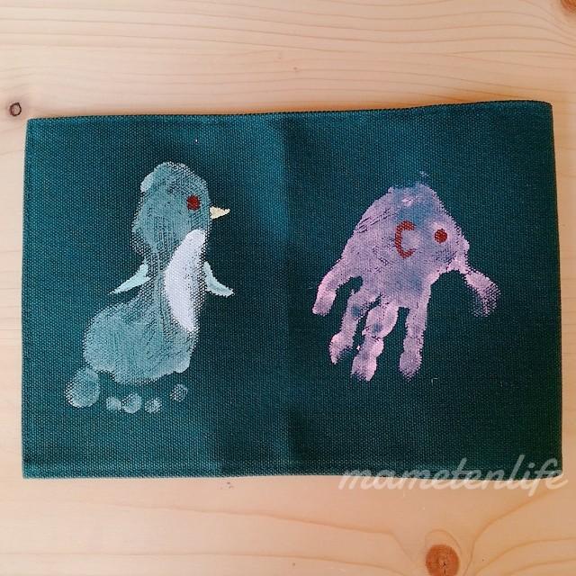 ペンギンとゾウの手形足型アート
