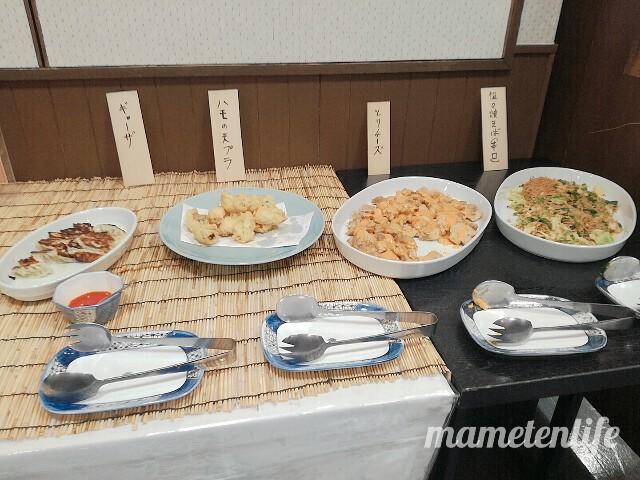 新潟ふるさと村番屋亭ランチバイキングの天ぷら餃子コーナー