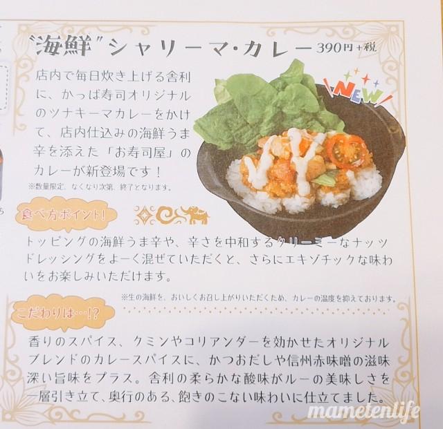 かっぱ寿司海鮮シャリーマカレーのチラシの説明