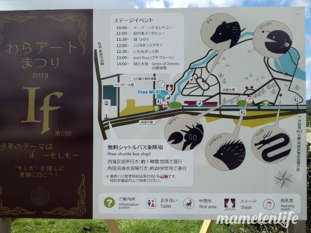 2019年の上堰潟公園のわらアートまつりのマップ