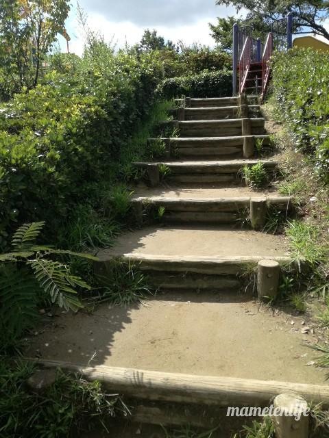 上堰潟公園の急な階段