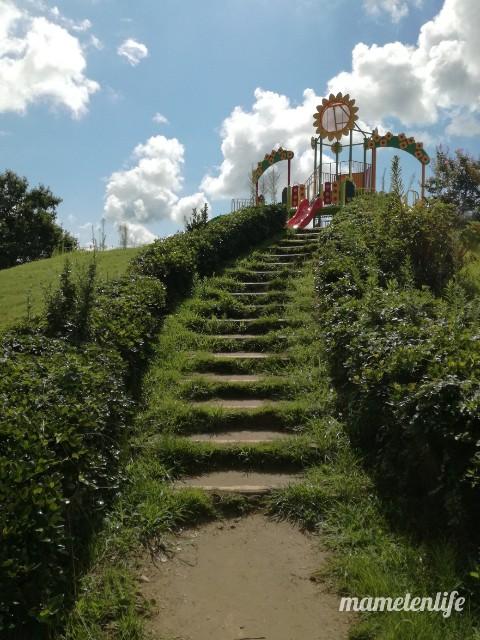 上堰潟公園の遊具までの階段