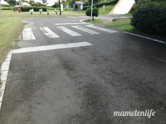 上堰潟公園のムーンカートの道路の横断歩道