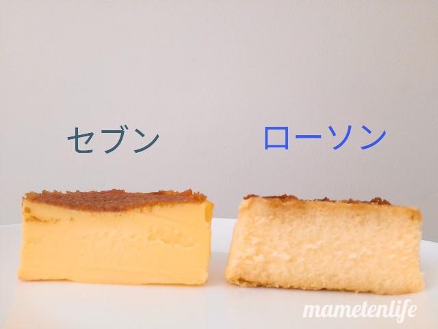 セブンイレブンとローソンのバスクチーズケーキの断面