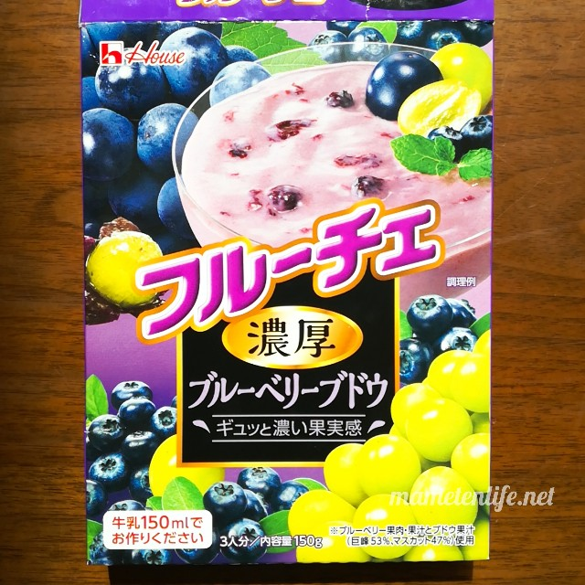 フルーチェの濃厚ブルーベリーブドウのパッケージ