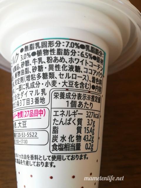 セコマ(セイコーマート)チョコミントソフトの原材料名・カロリーなど