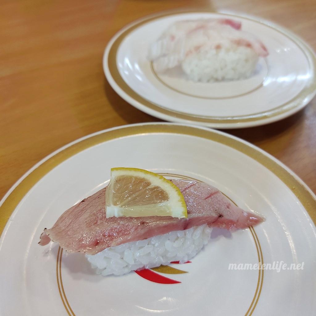かっぱ寿司の中とろ炙りと真鯛