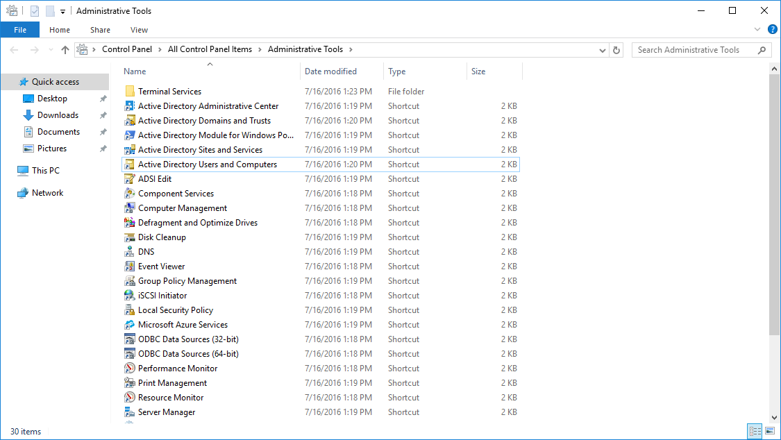 Active Directory Users and Computersを起動