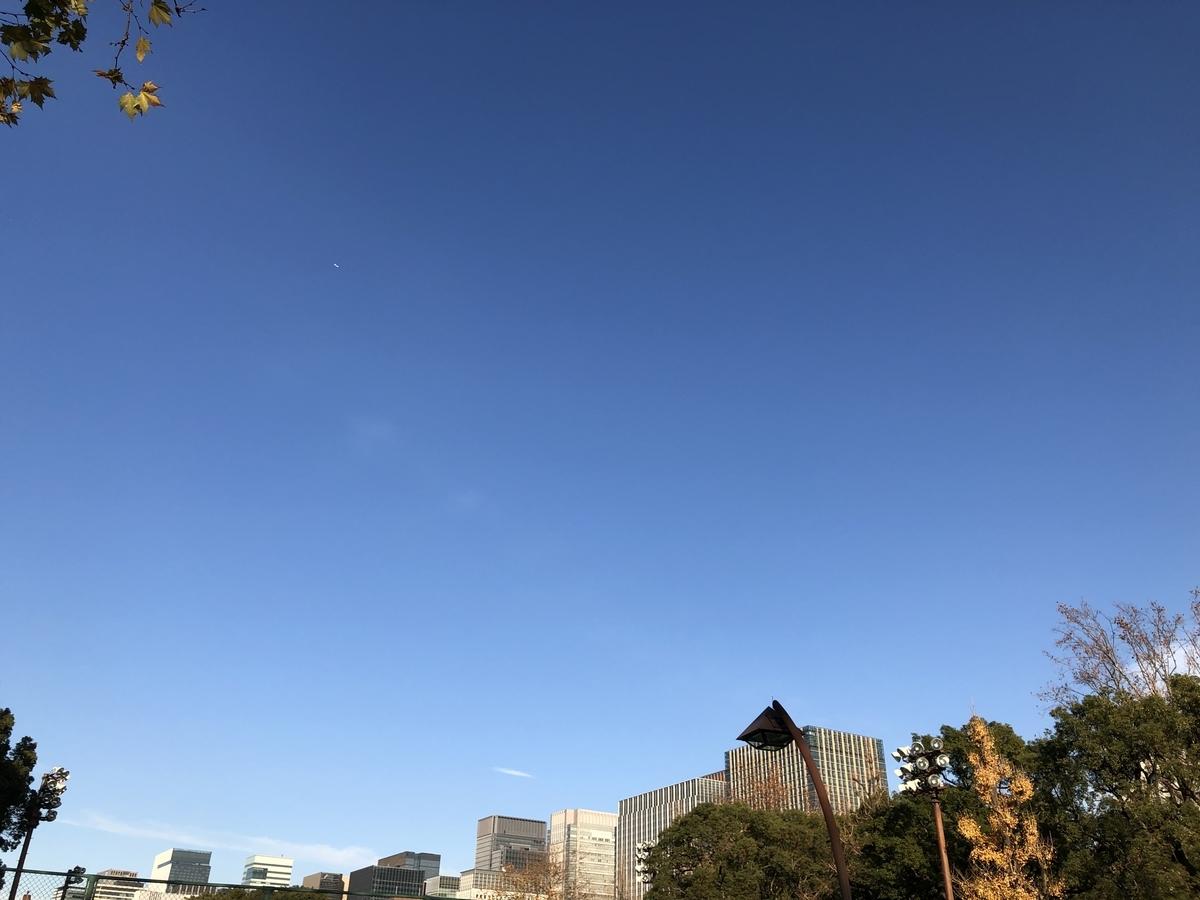 冬の澄んだ空とビル群