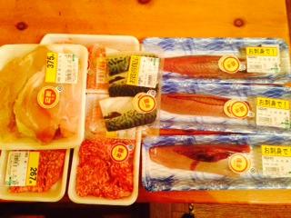 スーパーで特売で買ったお肉や魚画像
