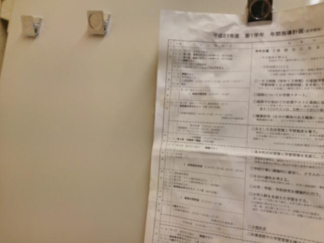 冷蔵庫に100均セリア強力マグネット付きクリップで貼り付けた学校のお手紙画像