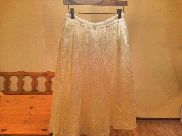 マオメイド 白いリネンスカート画像