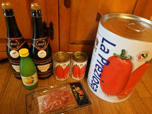 カルディーで昨日買ったモノ シードルワイン、オーガニックレモン汁、トマト缶、生ハム、ビッグトマト缶画像