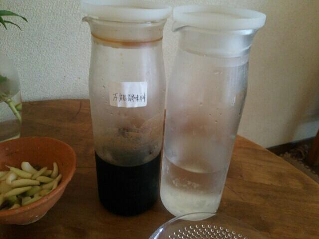 自家製麺つゆとお水を入れた無印良品 耐熱ガラスピッチャー1Lサイズ画像