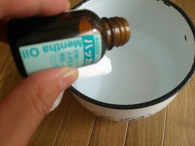 床の水拭きに使用したハッカ油