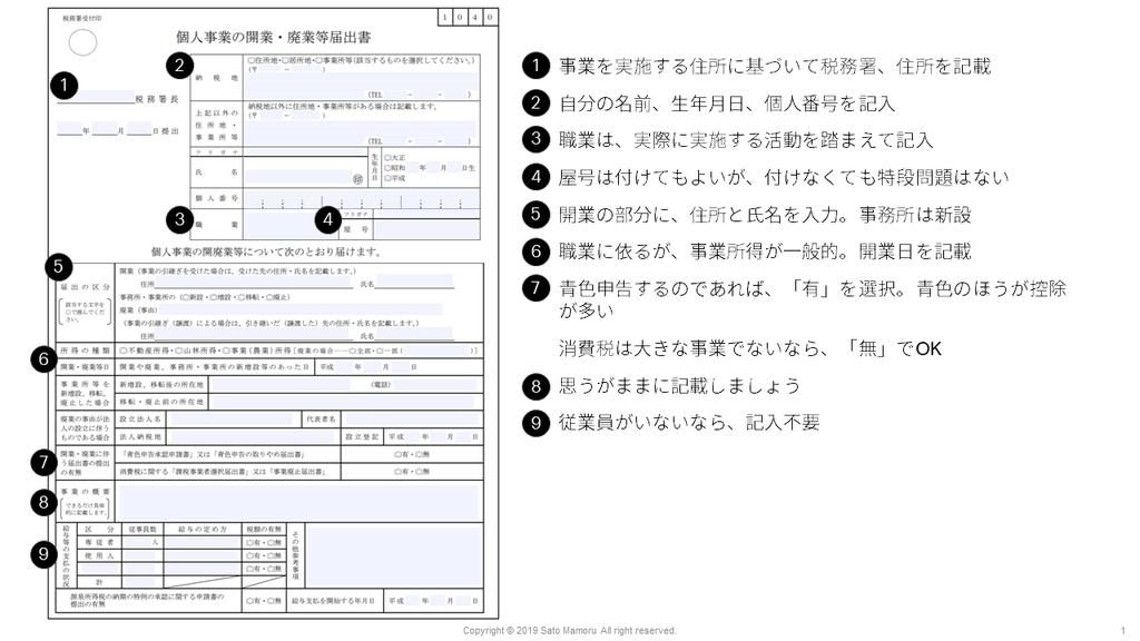 個人事業主登録についての記入要領