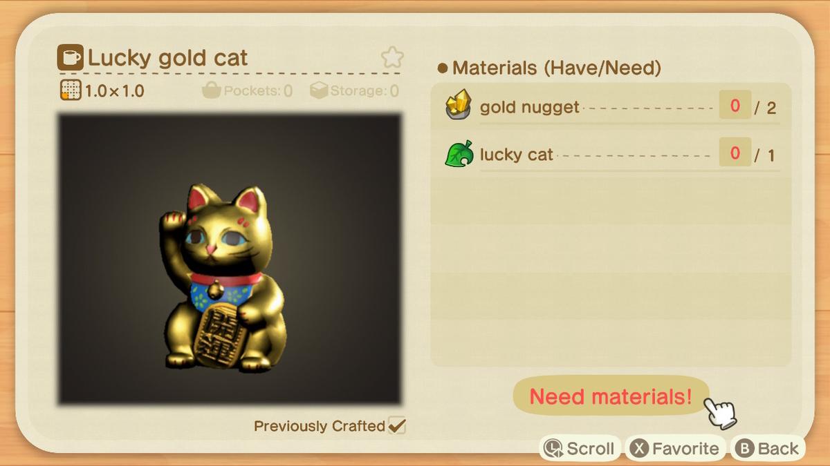 あつまれどうぶつの森 まねきねこのDIYレシピ lucky gold cat