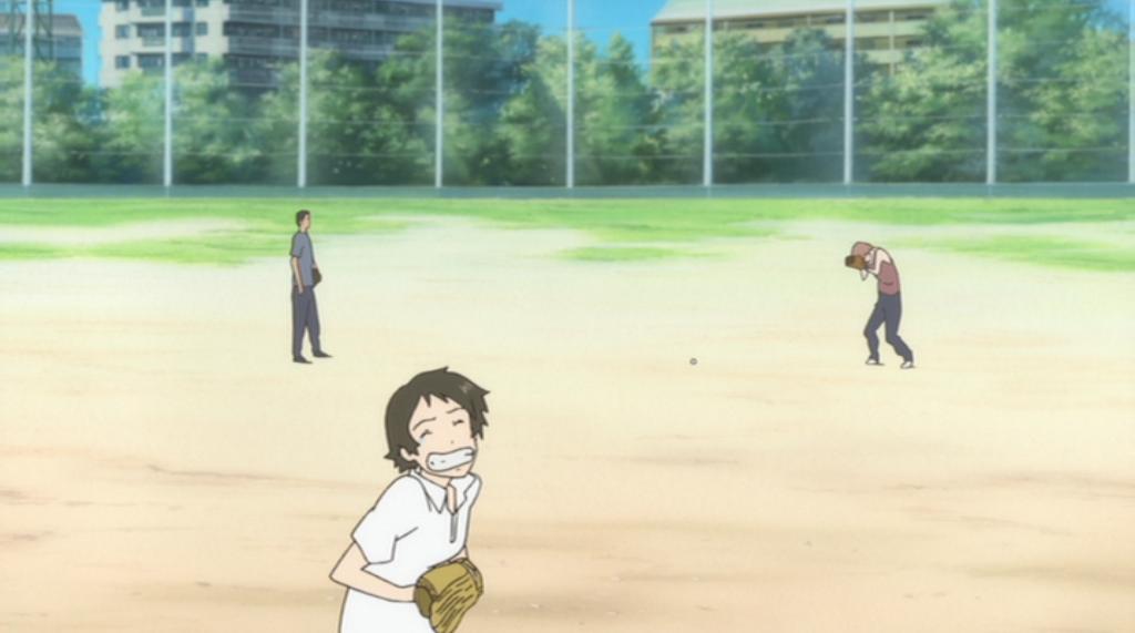 キャッチボールをする3人